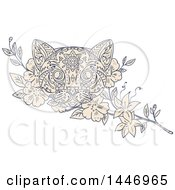 Clipart Of A Sketched Mandala Styled Cat Face And Jasmine Flowers Royalty Free Vector Illustration