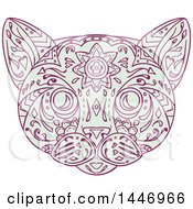 Clipart Of A Sketched Mandala Styled Cat Face Royalty Free Vector Illustration