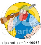 Sketched Drawing Styled Lumberjack Paul Bunyan Carrying A Shotgun Over His Shoulder