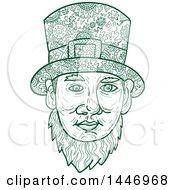 Clipart Of A Sketched Mandala Styled Leprechaun Face Royalty Free Vector Illustration