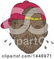 Clipart Of A Sketched Drawing Styled Black Male Rapper Wearing A Backwards Hat And Crying Royalty Free Vector Illustration by patrimonio