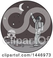 Clipart Of A Sketched Mono Line Styled Astronaut On A Foreign Planet Pointing Up At The Moon And Stars Royalty Free Vector Illustration by patrimonio