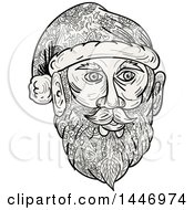Clipart Of A Sketched Mandala Styled Santa Claus Face Royalty Free Vector Illustration