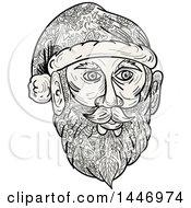 Sketched Mandala Styled Santa Claus Face