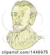 Clipart Of A Sketched Drawing Styled Bust Of A Bust Of A 15th Century Spanish Conquistador Royalty Free Vector Illustration