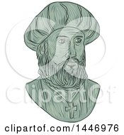 Clipart Of A Sketched Drawing Styled Bust Of Vasco Da Gama 1st Count Of Vidigueira Portuguese Explorer And The First European To Reach India By Sea Royalty Free Vector Illustration