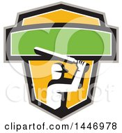 Retro Cricket Player Batsman In A Green White Black Gray And Yellow Crest