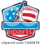 Poster, Art Print Of Retro Plumber Hand Holding A Pipe Monkey Wrench In An American Flag Shield