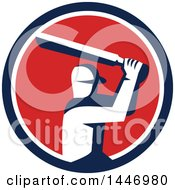 Clipart Of A Retro Cricket Player Batsman In A Blue White And Red Circle Royalty Free Vector Illustration by patrimonio