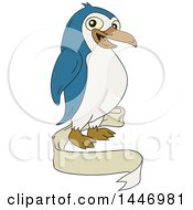Cartoon Happy Penguin And Blank Ribbon Banner