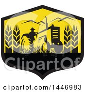 Clipart Of A Retro Silhouetted Wheat Farmer Operating A Tractor In A Black And Yellow Crest Royalty Free Vector Illustration