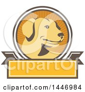 Clipart Of A Retro Yellow Labrador Dog In A Ray Circle Over A Blank Banner Royalty Free Vector Illustration by patrimonio