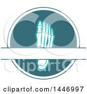 Clipart Of A Human Foot With Visible Bones In A Circle With Text Space Royalty Free Vector Illustration by Vector Tradition SM