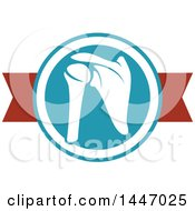Clipart Of A Human Shoulder Joint In A Circle Over A Banner Royalty Free Vector Illustration