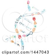 Clipart Of A DNA Strand Formed Of Medical Icons Royalty Free Vector Illustration by Vector Tradition SM