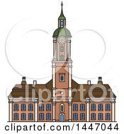 Clipart Of A Line Drawing Styled German Landmark Abbey Church Birnau Royalty Free Vector Illustration