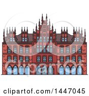 Clipart Of A Line Drawing Styled German Landmark Old Town Hall Royalty Free Vector Illustration