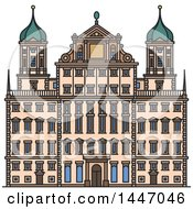 Clipart Of A Line Drawing Styled German Landmark Augsburg Town Hall Royalty Free Vector Illustration