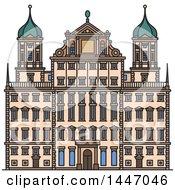 Poster, Art Print Of Line Drawing Styled German Landmark Augsburg Town Hall