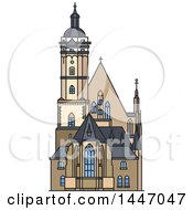 Clipart Of A Line Drawing Styled German Landmark Church Thomaskirche Royalty Free Vector Illustration