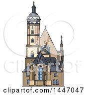 Poster, Art Print Of Line Drawing Styled German Landmark Church Thomaskirche