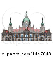 Clipart Of A Line Drawing Styled German Landmark New City Hall Royalty Free Vector Illustration