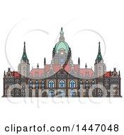 Poster, Art Print Of Line Drawing Styled German Landmark New City Hall