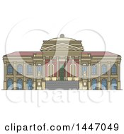 Clipart Of A Line Drawing Styled Italian Landmark Massimo Theater Royalty Free Vector Illustration by Vector Tradition SM