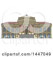Poster, Art Print Of Line Drawing Styled Italian Landmark Massimo Theater