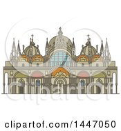 Clipart Of A Line Drawing Styled Italian Landmark Saint Mark Basilica Royalty Free Vector Illustration by Vector Tradition SM