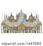 Poster, Art Print Of Line Drawing Styled Italian Landmark Saint Mark Basilica