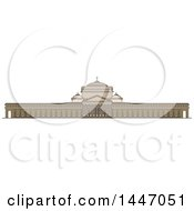 Clipart Of A Line Drawing Styled Italian Landmark Linear Basilica Of San Francesco Di Paola Royalty Free Vector Illustration by Vector Tradition SM
