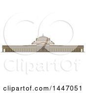 Poster, Art Print Of Line Drawing Styled Italian Landmark Linear Basilica Of San Francesco Di Paola