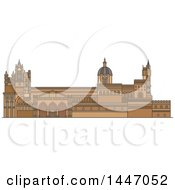 Clipart Of A Line Drawing Styled Italian Landmark Palermo Cathedral Royalty Free Vector Illustration