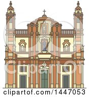 Clipart Of A Line Drawing Styled Italian Landmark Church Of San Domenico Royalty Free Vector Illustration