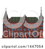 Clipart Of A Line Drawing Styled German Landmark Town Hall Royalty Free Vector Illustration