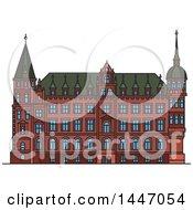 Line Drawing Styled German Landmark Town Hall