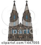 Clipart Of A Line Drawing Styled German Landmark Cologne Cathedral Royalty Free Vector Illustration