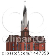 Clipart Of A Line Drawing Styled German Landmark St Lambert Church Royalty Free Vector Illustration