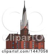 Poster, Art Print Of Line Drawing Styled German Landmark St Lambert Church