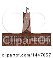 Poster, Art Print Of Line Drawing Styled German Landmark Rotes Rathaus Cathedral