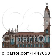 Clipart Of A Line Drawing Styled German Landmark Magdeburg Cathedral Royalty Free Vector Illustration