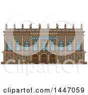 Clipart Of A Line Drawing Styled Italian Landmark Palazzo Madama Royalty Free Vector Illustration by Vector Tradition SM