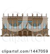 Poster, Art Print Of Line Drawing Styled Italian Landmark Palazzo Madama