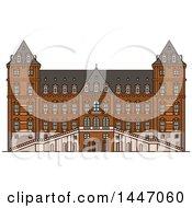 Poster, Art Print Of Line Drawing Styled Italian Landmark Castle Of Valentino