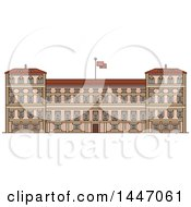 Clipart Of A Line Drawing Styled Italian Landmark Royal Palace Of Milan Royalty Free Vector Illustration by Vector Tradition SM