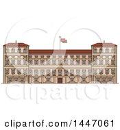 Poster, Art Print Of Line Drawing Styled Italian Landmark Royal Palace Of Milan