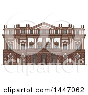 Clipart Of A Line Drawing Styled Italian Landmark Opera House La Scala Royalty Free Vector Illustration by Vector Tradition SM