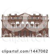 Poster, Art Print Of Line Drawing Styled Italian Landmark Opera House La Scala