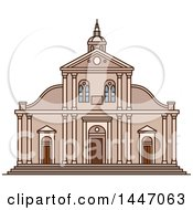 Clipart Of A Line Drawing Styled Italian Landmark Roman Catholic Turin Cathedral Royalty Free Vector Illustration by Vector Tradition SM